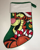 Disney Winnie The Pooh Tigger Christmas Stocking Candy Canes Santa Hat Green
