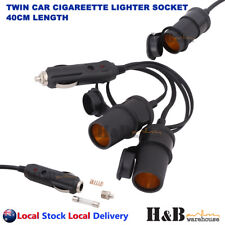 12V DC Car Twin Cigarette lighter Extension Socket Plug Charge Lead Cover 40cm
