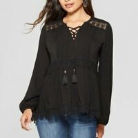 Knox Rose Women's XS Extra Small Black Long Sleeve Lace Tassel Peasant Top