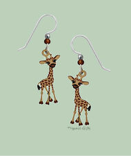 Sienna Sky Baby GIRAFFE EARRINGS Sterling Silver Made in USA Hand Painted - Box