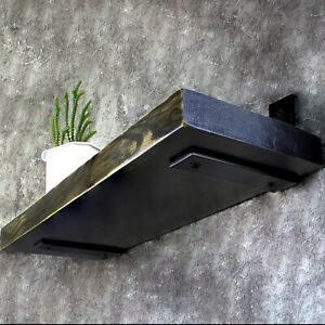 Wood Floating Shelf - Trendy Wall Mounted Shelves Triple Coated with Oil - Black