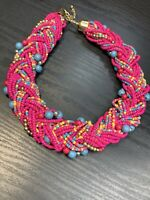 "Vintage Bohemian 16"" Woven Hot Pink Turquoise seed bead Bib Chunky necklace"