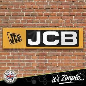 JCB Logo Black and Yellow Banner Garage Workshop Sign PVC Trackside Display