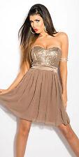 WoW Sexy Cocktailkleid Kleid Minikleid Bandeau Pailletten Abi Silvester