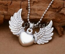925 Sterling Silver Plated Heart Angel Wing Charm Pendant Necklace Jewelry Best