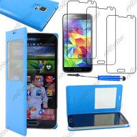 Housse Etui Fenêtre View PU Cuir Bleu Samsung Galaxy S5/New+ Mini Stylet+3 Films