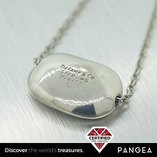 "Tiffany & Co Sterling Silver Elsa Peretti Medium Bean Pendant Necklace 16"""