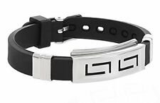 Fashion Uni-sex Silicone Black Bracelet with Stainless Steel Adjustable Buckle