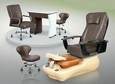 Ciana Pedicure Mani Stool Curve Marble Composite Spa Base Customer Chair Package