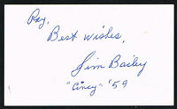 Jim Bailey signed autograph auto 3x5 index card Baseball Player H1789
