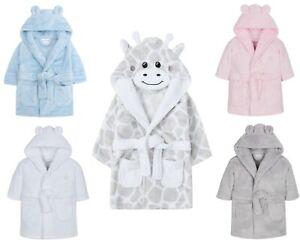 Baby Boys Girls Dressing Gown Plush Flannel Fleece Hooded Bath Robe 0-24 Months