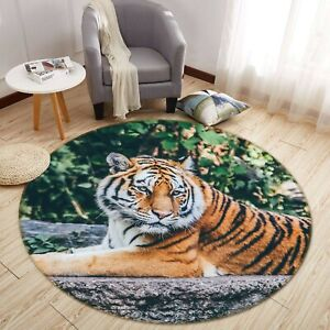 3D Woods Tiger Leisurely R201 Animal Non Slip Rug Mat Round Elegant Carpet Zoe