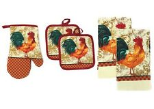RARE 5 pc SET: 2 POT HOLDERS,1 OVEN MITT & 2 TOWELS, ORANGE ROOSTER by KC