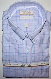 Roundtree Yorke Dress Shirt 18 - 33 Purple Multi Check Twill NWT