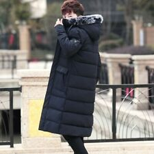 Winter Men's Knee Length Overcoat Quilted Hooded Fur Collar Cotton Padded Jacket