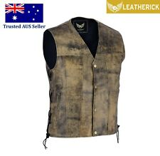 Men Vintage Motorcycle Leather Waistcoat Distressed Brown Biker Leather Vest AUS