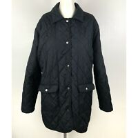 JustFab Women's Jacket Size 3X Black Puffer Quilted Snap Button Long Pockets