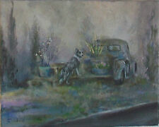L Cahill Spring Flower Sale International Pickup Truck Border Collie Dog Foggy