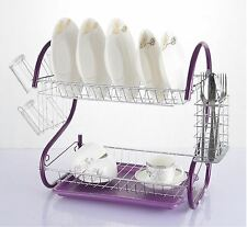 Vinsani 2 Tier Drainer Rack Drip Tray Plate Cutlery Cup Holder Chrome Purple