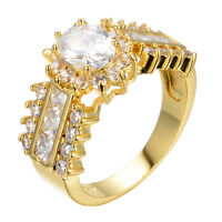 Stunning Oval White Sapphire Wedding Band Ring 10KT Yellow Gold Filled Size 5-12