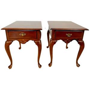 Vintage Pair of American Drew Side Tables  Nightstands single drawer matching