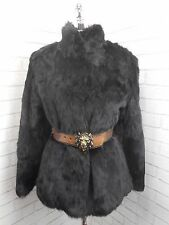 Vintage 1980s Short Glossy Raven Black Real Coney Fur Retro Jacket Coat 12/14