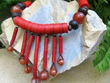 African Maasai Antique Carnelian Bead Vulcanite Heishi Tribal Masai Necklace