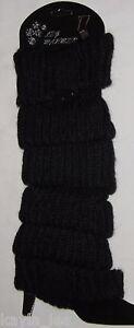 Black Button/Tab Cable Knit Acrylic Leg Warmers Boot Cuff Socks