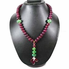 """630 CTS NATURAL AFRICAN RUBY BRAZILIAN EMERALD CAB BEADED NECKLACE 21"""" W PENDANT"""