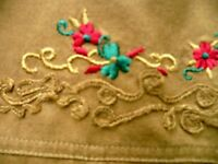 VTG 90S M EMBROIDERED MILITARY LOOK BROWN HEAVY COTTON WOMEN SHIRT BLOUSE TAIWAN