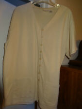 """FASHION BUG """"Beige Short Sleeve Top"""" Button Front w/2 Front Pockets Size 18/20"""