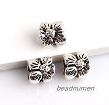25pcs Zinc alloy nice Flower charms big hole beads(5mm)
