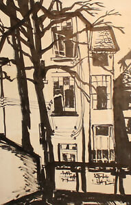 VINTAGE EXPRESSIONIST CITYSCAPE INK PAINTING