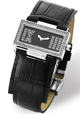 CERRUTI WOMENS SCATOLA BLACK LEATHER WATCH CT068272004