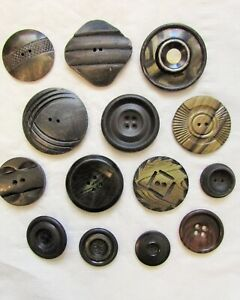 14pc Vintage Mixed Buttons Collection 7/8in to 1 3/4in - Black & Beige