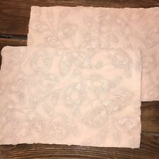 """2 Serena & Lily Willowbrook Pillow Covers Wild Rose Hand Embroidered 12 x 18"""""""