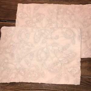 """2 Serena & Lily Willowbrook Pillow Covers Wild Rose Embroidered 12 x 18"""" Faded"""
