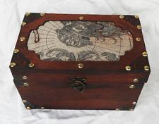 Vintage World Map Design Wooden Box / Trunk / Storage Chest - BNWT