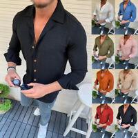 Mens Summer Long Sleeve Linen Cotton T Shirt Casual Soft Tops Button-Down Shirts