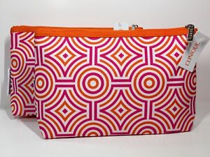 2x Clinique Cosmetic Makeup Bag by Jonathan Adler (Pink & Orange)