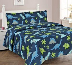 3/4 Piece Kids/Teens Fitted Flat SHEET Pillow Cases Set Jungle Dinosaur Blue