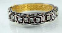 Victorian Natural Pave Diamond Polki Gold & 925 Sterling Silver Bangle Bracelet