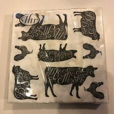 Farm Animal Napkins Luncheon Set 20 Paper 3 Ply Cow Pigs Sheep Chickens