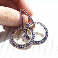 Fashion Luxury Round Earrings Women Crystal Geometric Hoop Drop Jewelry Party