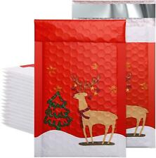 50 Pieces 4x8 Inch Poly Bubble Mailers Christmas Reindeer Padded Envelopes New
