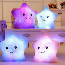 Star Luminous Pillow Glow In The Dark Stuffed Cartoon Soft Plush Kids Xmas Gift