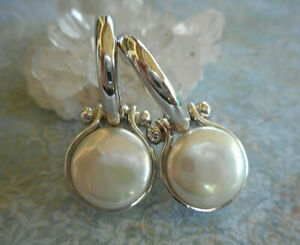 Sterling Silver 925 Pearl Disc Dangle Hoop Earrings  RE18R