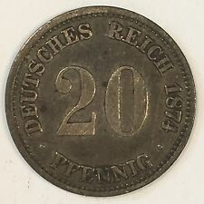 1874-A Germany 20 Pfennig Silver Coin - Nice Details -  High Quality Scans #D119