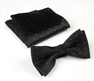 Men's Fashion Silver Polka Dots Bow Tie Handkerchief Wedding Pocket Square Set