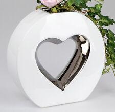 ☼ Formano Vase Herzvase ca. 24,5 cm hoch Keramik weiss silber Blumenvase 733634